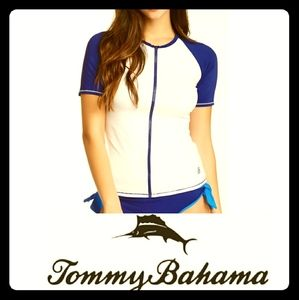 Tommy Bahama Women's Deck Piping Rash Guard Top